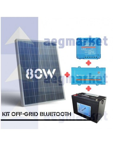 KIT OFF-GRID 12V 80Wp 100Ah(C10) 250VA BLUETOOTH