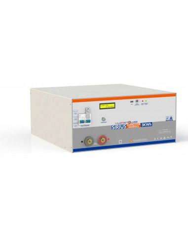 Vista frontale batteria con connettori, display, interruttori e spie